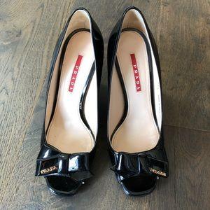 Authentic Prada Wedge Heels Black Size 7